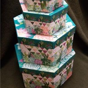 Decorative Set of (4) Storage Boxes